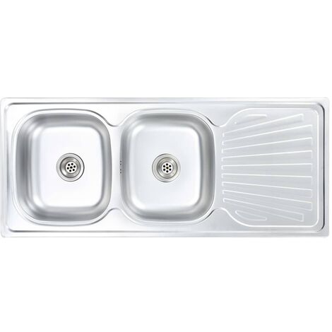Kitchen Sink Double Basin with Strainer & Trap Stainless Steel