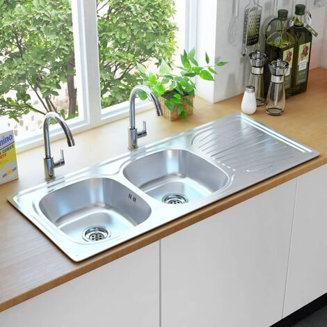 Kitchen Sink Double Basin with Strainer & Trap Stainless Steel - Silver