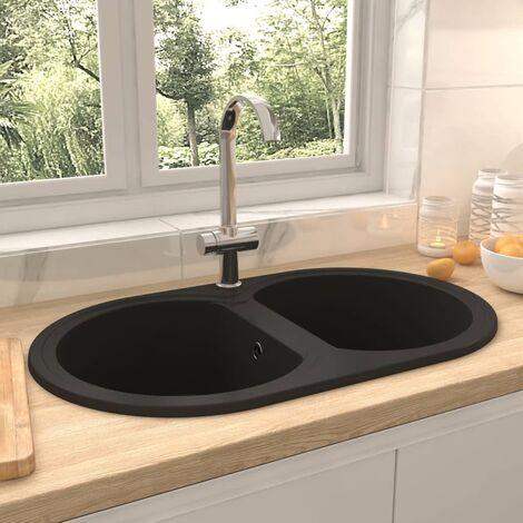 Kitchen Sink Double Basins Oval Black Granite