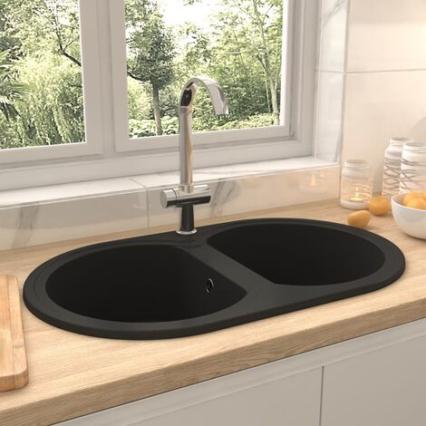 Kitchen Sink Double Basins Oval Black Granite - Black