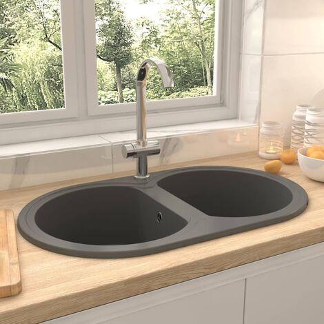 Kitchen Sink Double Basins Oval Grey Granite