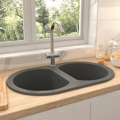 Kitchen Sink Double Basins Oval Grey Granite - Grey