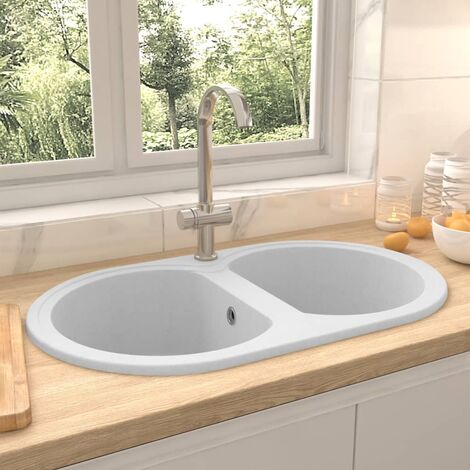 Kitchen Sink Double Basins Oval White Granite - White