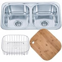 Kitchen Sink Inset Double Bowl with chopping board and wire basket (D23 + cb +wb)