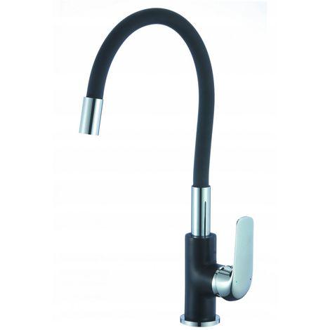 Kitchen sink mixer with black spout
