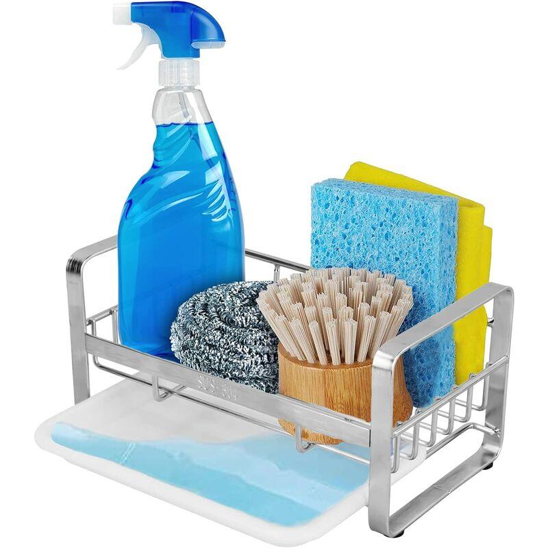 Briday - Kitchen Sink Sponge Holder, Kitchen Sink Organizer Sponge Kitchen Sink Holder with Drain Tray Stainless Steel Kitchen Sink Organizer 18 X 10