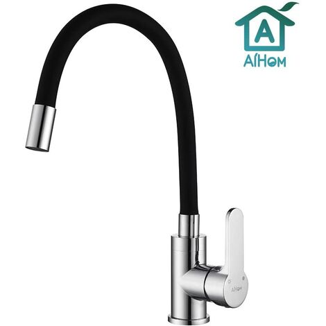 """main image of """"Kitchen Sink Tap Black Kitchen Mixer Tap Single Lever Swivel Spout Kitchen Tap Chrome Finish Solid Brass with UK Standard Fittings Universal Swivel Bending"""""""