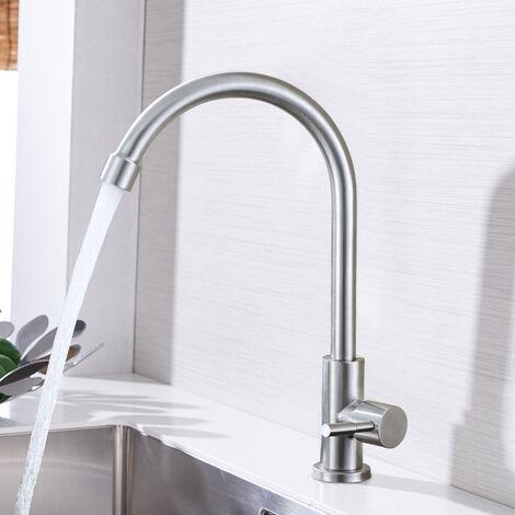 Kitchen Sink Tap Chrome Monobloc Mixer Tap for Kitchen Sink Swivel Spout Single Level Ceramic Valve