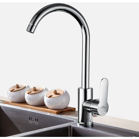 Kitchen Sink Tap Chrome Monobloc Mixer Tap for Kitchen Sink Swivel Spout Single Level Ceramic Valve