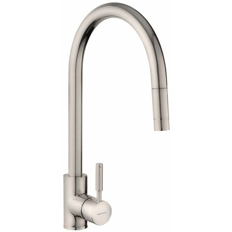 Kitchen Sink Tap Single Lever Mono Pull Out Spray Mixer Brushed Swivel Spout