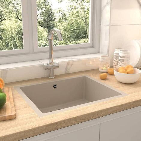 Kitchen Sink with Overflow Hole Beige Granite