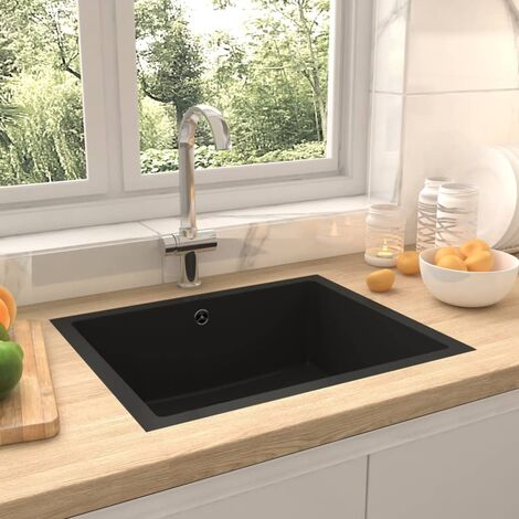 Kitchen Sink with Overflow Hole Black Granite - Black