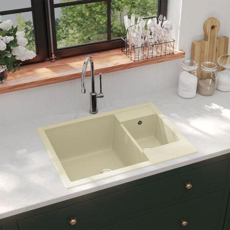 Kitchen Sink with Overflow Hole Double Basins Beige Granite - Beige