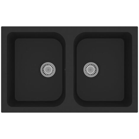 Kitchen Sink with Overflow Hole Double Basins Black Granite