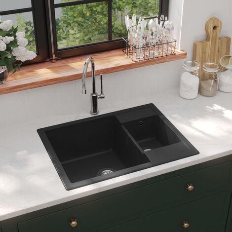Kitchen Sink with Overflow Hole Double Basins Black Granite - Black