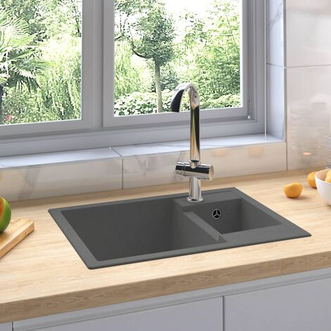 Kitchen Sink with Overflow Hole Double Basins Grey Granite