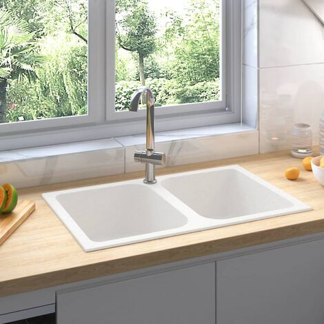 Kitchen Sink with Overflow Hole Double Basins White Granite