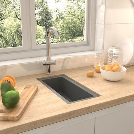 Kitchen Sink with Overflow Hole Grey Granite