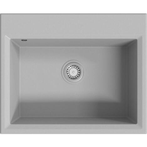 Kitchen Sink with Overflow Hole Grey Granite - Grey