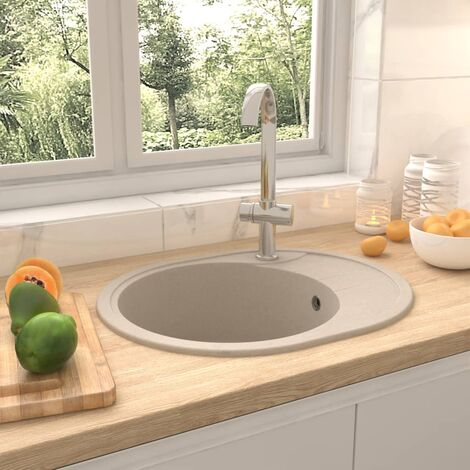 Kitchen Sink with Overflow Hole Oval Beige Granite