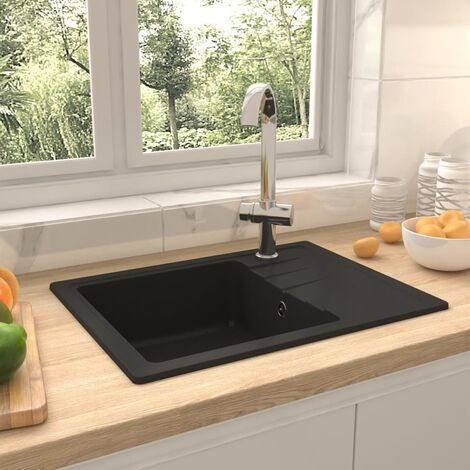 Kitchen Sink with Overflow Hole Oval Black Granite