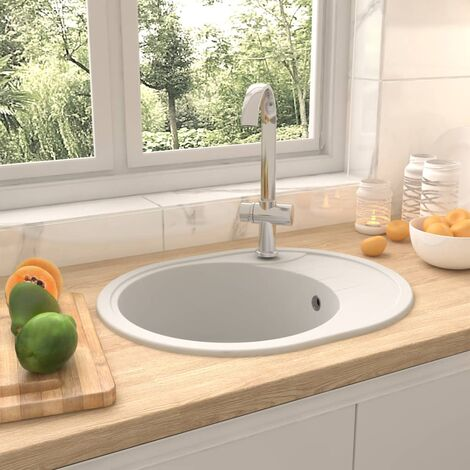 Kitchen Sink with Overflow Hole Oval White Granite