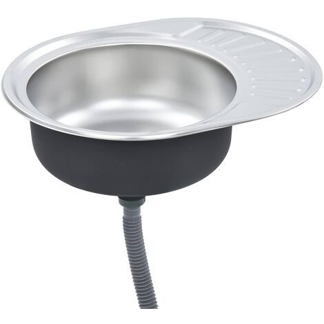 Kitchen Sink with Strainer and Trap Oval Stainless Steel