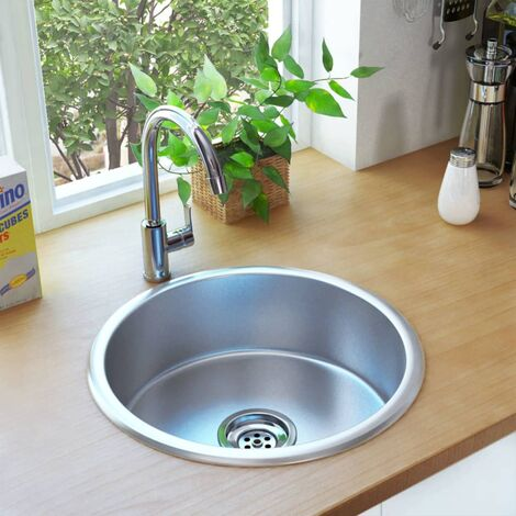 Kitchen Sink with Strainer and Trap Stainless Steel