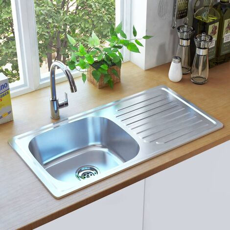 Kitchen Sink with Strainer and Trap Stainless Steel - Silver