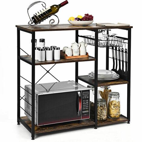 Kitchen Storage Industrial Baker's Rack Microwave Stand Utility Storage Shelves