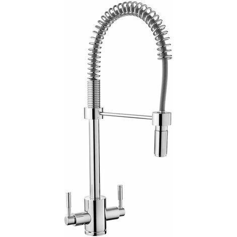 "main image of ""Kitchen Swivel Spout Sink Tap Twin Lever Mono Pull Out Jet Mixer Mono Chrome"""