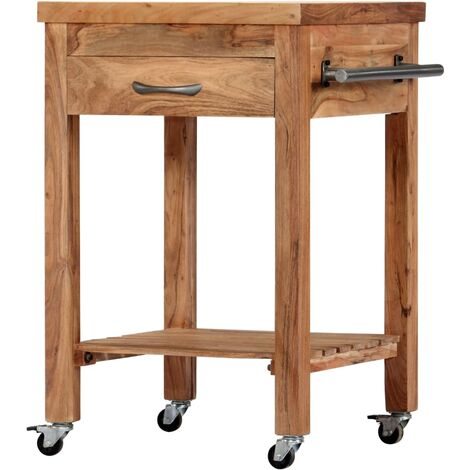 Kitchen Trolley 58x58x89 cm Solid Acacia Wood - Brown
