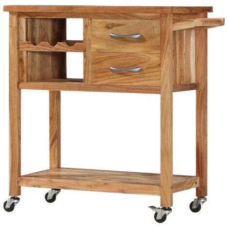 Kitchen Trolley 80x45x91 cm Solid Acacia Wood