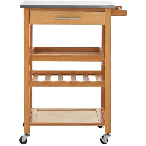 Kitchen Trolley, Bamboo, Stainless Steel Top