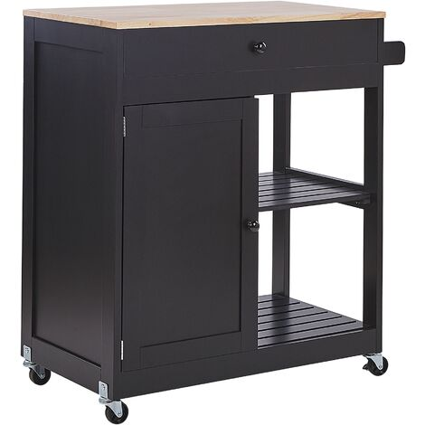 Kitchen Trolley Black TRAPANI