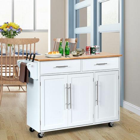 "main image of ""Kitchen Trolley Cart Rolling Island Storage Serving Cupboard Drawer Shelves Lock"""