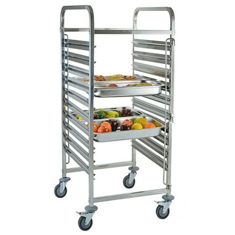 Kitchen Trolley for 10 Trays 38x55x122 cm Stainless Steel