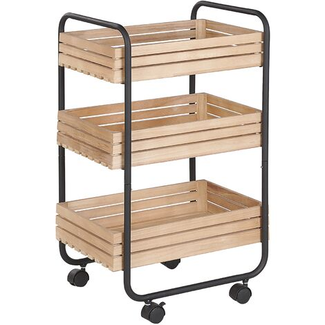 Kitchen Trolley Industrial Light Wood with Black Swivel Castors 3 Shelves Formia