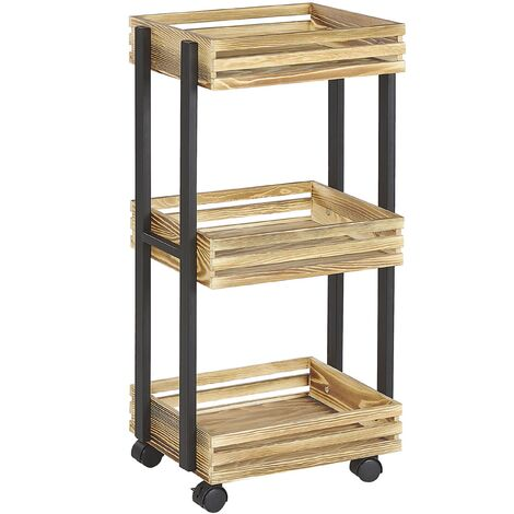 Kitchen Trolley Industrial Light Wood with Black Swivel Castors 3 Tiers Letino