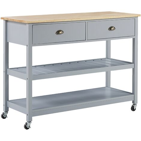 Kitchen Trolley Island on Wheels Grey with Drawers Wooden Top Navarino