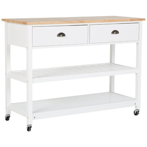 Kitchen Trolley Island on Wheels White with Drawers Wooden Top Navarino
