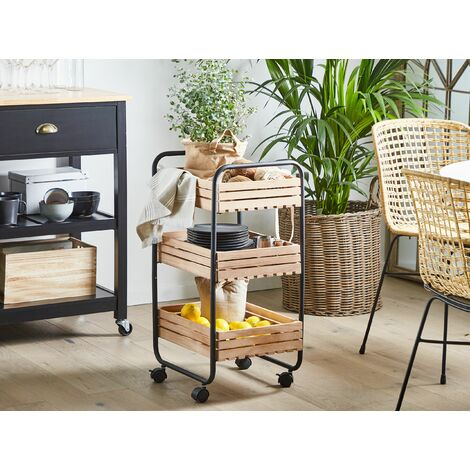 Kitchen Trolley Light Wood with Black FORMIA