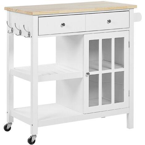 Kitchen Trolley Prep Cart Top with Castors Storage White Light Wood Genoa