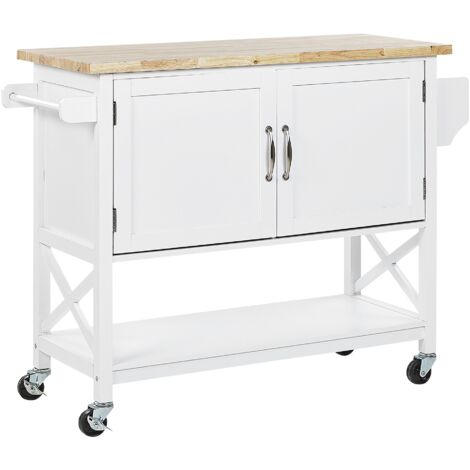 Kitchen Trolley Prep Cart White Light Wood Top with Castors Storage Mele
