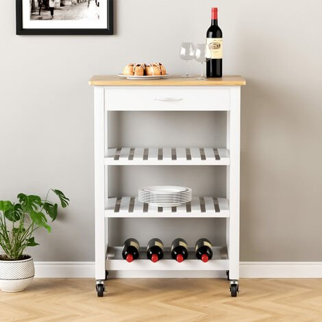 Kitchen Trolley Serving Cart Rolling Storage Island Table With Drawer Shelf Rack, Grey