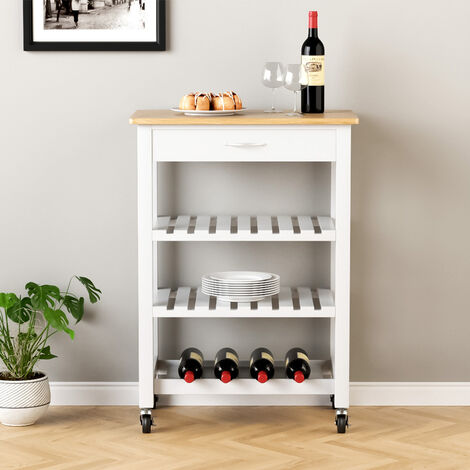 """main image of """"3 Tier Mobile Trolley Cart MDF Rolling Wheels Kitchen Storage Cart"""""""