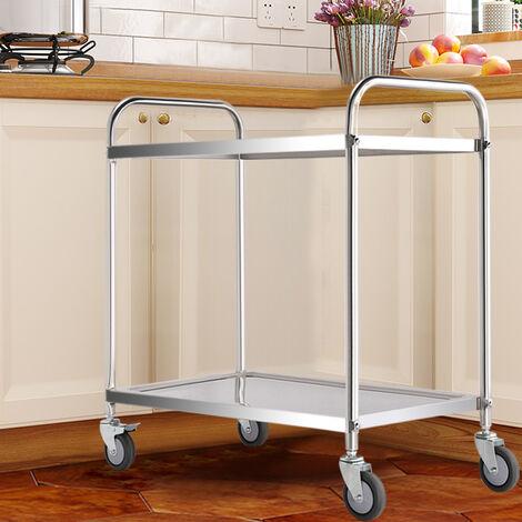 Kitchen Trolley Serving Cart Stainless Steel Hotel Restaurant Storage Rack Wheel