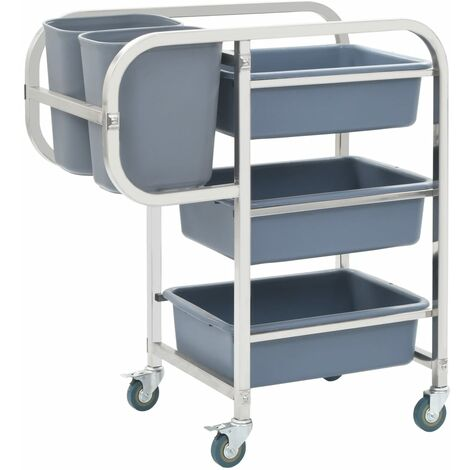 Kitchen Trolley Stainless Steel 2-Tier 107x55x90 cm