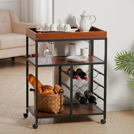 Kitchen Trolley Tea Tray Wood Storage Shelf 3 Tier Drinks Wine Rack Serving Cart