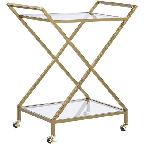 Kitchen Trolley Wheeled Bar Cart Glamour Style Clear Glass Top Gold Ivera